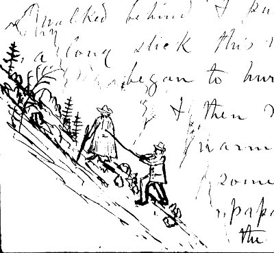 Muir's doodle in a letter to his daughter, 1884